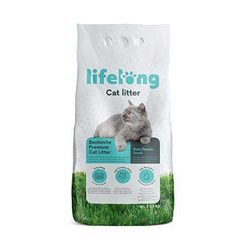 Marque Amazon Lifelong Litière pour chats, agglomérante bentonite, parfum : talc pour bébé,10l