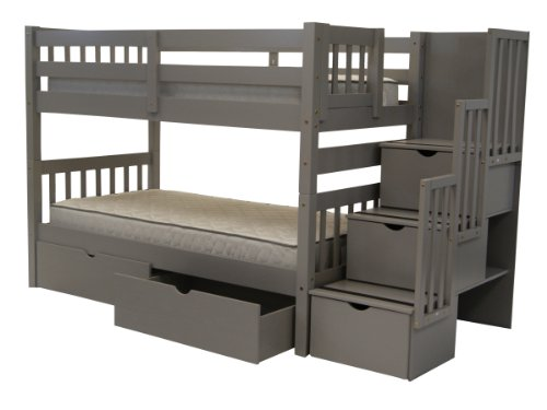 Bedz King Stairway Bunk Beds Twin over Twin with 3 Drawers in the Steps and 2 Under Bed Drawers,...