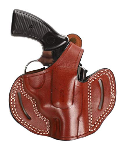 Pusat Holster Revolver Leather 2 inch OWB Holster Handcrafted for EAA Windicator (Brown Right Hand)