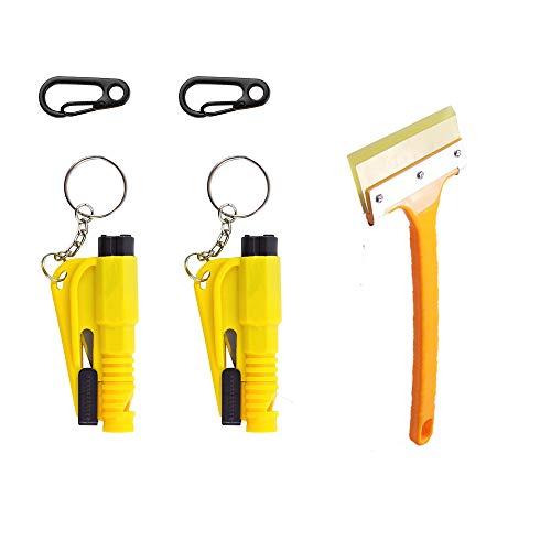 Window Breaker seatbelt cutter, Emergency escape tool safety rescue tool car window breaker Seat belt cutter, Compact lightweight Portability Key Ring(2pcs)Spring hook(2pcs)snow removal shovel(1pcs)