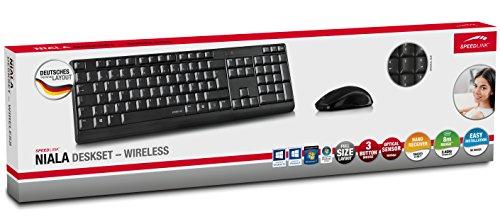 Speedlink NIALA Deskset Wireless - Kabelloses Set aus Maus und Tastatur (3 Tasten Maus mit dpi-Schalter - bis zu 1600 dpi - 8m Reichweite) für Gaming/PC/Notebook/Laptop, DE Layout schwarz