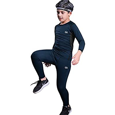 MeetHoo Thermal Underwear Set for Boys, Fleece Lined Long Johns Soft Warm Base Layer for Kids (Size 8-16 Years) Blue