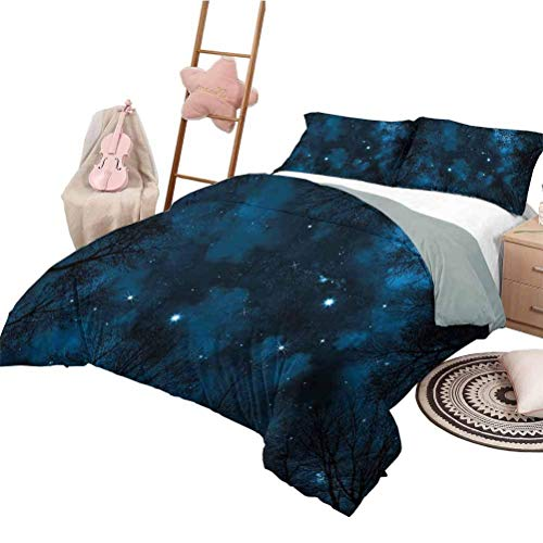 Quilt Set Night Sky Washable Duvet Cover Set Spooky View Through Forest Branches Trees Foggy Sky with Stars Petrol Blue and Dark Blue California King Size