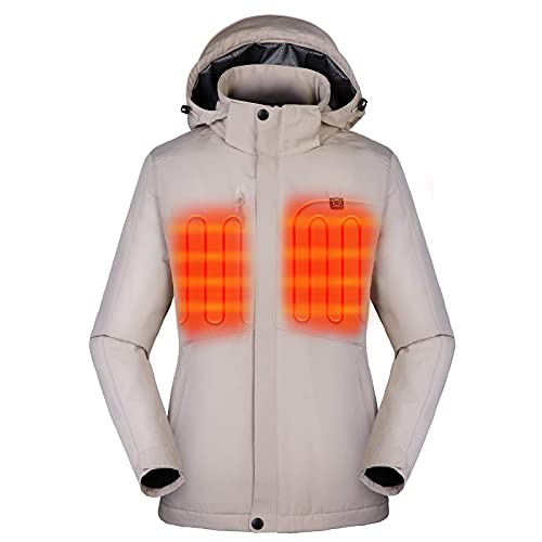 Venustas Women's Heated Jacket with Battery Pack 5V, Heated Coat with Detachable Hood