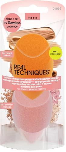 Real Techniques Miracle Complexion Sponge & Miracle Powder Sponge Duo Pack pour fond de teint et poudres 124 g