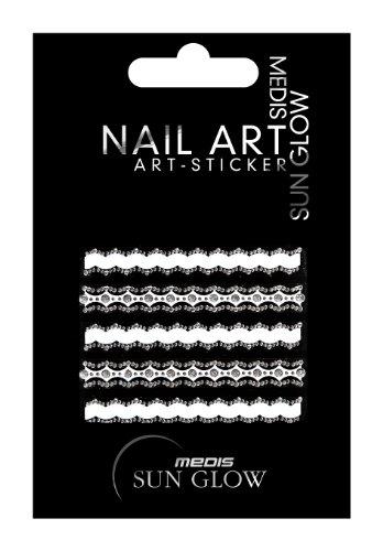 Medis Sun Glow Nagelsticker Borten und Zierstreifen, Wellen-Motive, Transparent/weiß mit silber-Strass