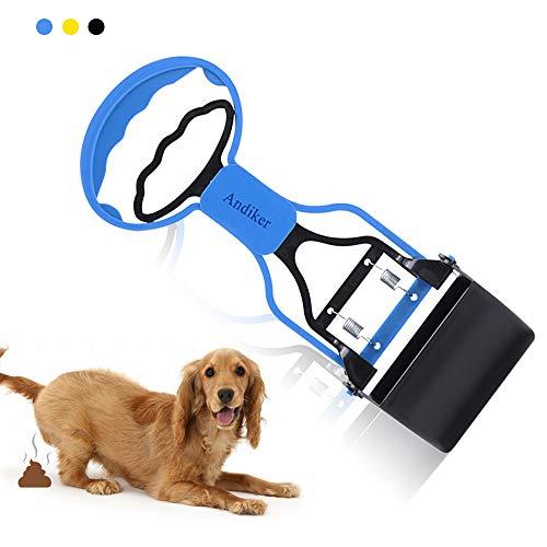 Andiker Kotschaufel für Haustiere, tragbare Haustierabfallschaufel, Hundekotschaufel, Haustierabfallschaufel, Klemmschaufel, hohe elastische Feder (blau)