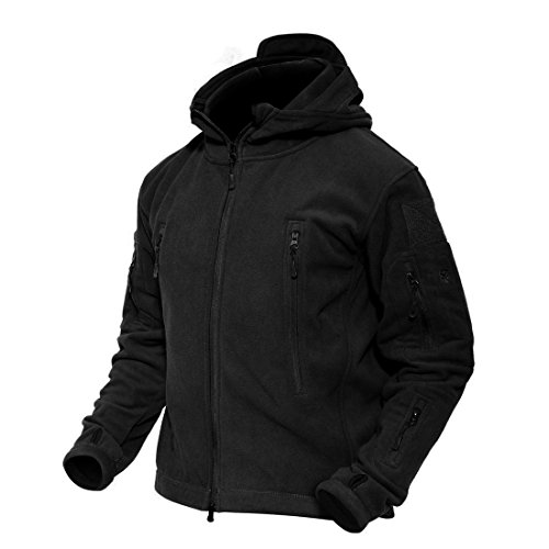 MAGCOMSEN Herbst Winterjacke Männer Fleecejacke mit Taschen Warm Kapuzenjacke Herrenjacke Armee Uniform Jacke Reißverschluss Jacke Schwarz 2XL