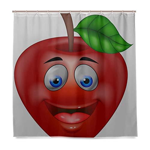 ZANSENG Duschvorhang, roter Apfel-Cartoon-Vektor mit Haken, Polyester, dekorativer Badvorhang, modernes Badezimmer-Zubehör, 183 x 183 cm