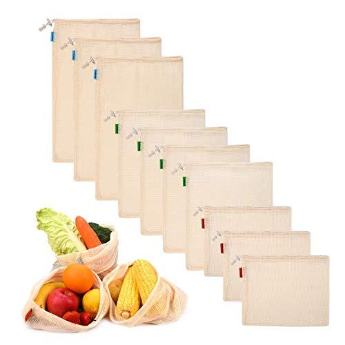 PHILORN 10 Sacs Réutilisables à Fruits et Légumes Sac de Provisions en Coton Sacs à Grille Sacs de Courses Résistant Lavable Double Piqué avec étiquette de Poids de Tare Léger