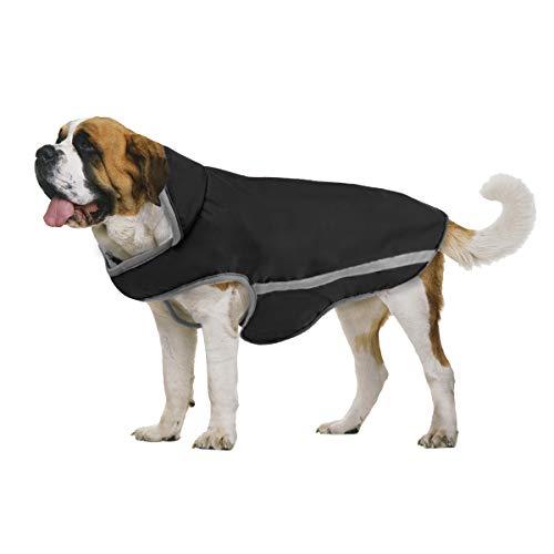 TFENG Reflektierend Hundejacke für Hunde, Wasserdicht Hundemantel Warm gepolstert Puffer Weste Welpen Regenmantel mit Fleece (Schwarz, Größe L)
