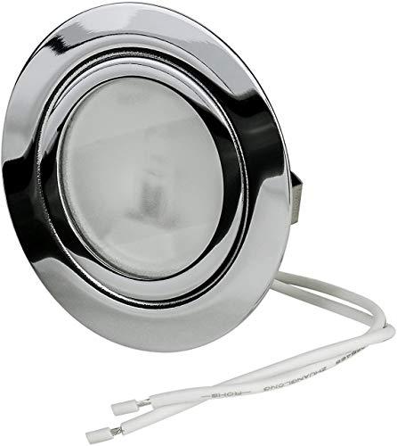 Möbeleinbauleuchte Chrom 12Volt G4 20Watt Leuchtmittel inklusive (dimmbar) Einbautiefe: 20mm Leuchtmittel austauschbar Bohrloch 55mm-59mm Außendurchmesser: 71mm