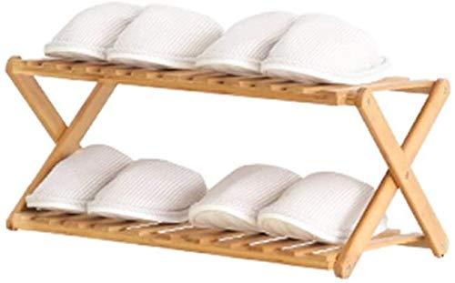 Estante de zapatos de bambú de 2 capas, estante de almacenamiento y estanterías de zapatos independientes de entrada,A