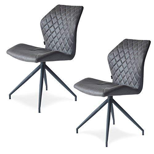 Damiware Rocky – Set di 2 sedie Sala da Pranzo Comfort Rivestimento in Tessuto (Stone)