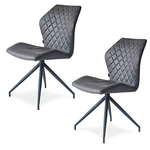 Damiware Rocky Esszimmerstühle 2er Set | Design Stuhl mit Stoffbezug | Stone dunkelgrau (Stone)