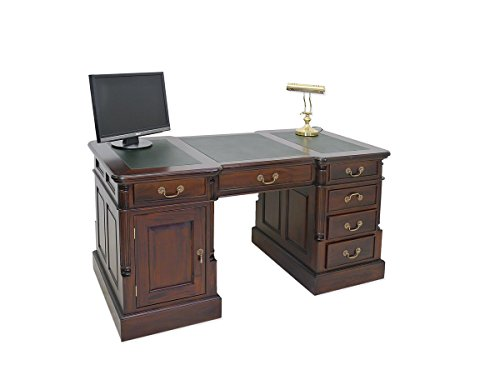 Schreibtisch Antik Stil Massivholz + Leder B 160cm
