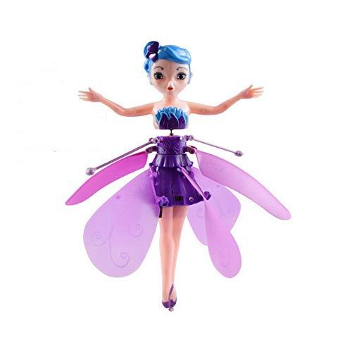 LHTCZZB Automática Flying Pink Magic Wings muñeca, USB Ballet Sensor infrarrojo Recargable Muchacha, niños de Adolescente Nueva Drone Recuerdos cumpleaños de los niños del Juguete Que vuelan Princesa