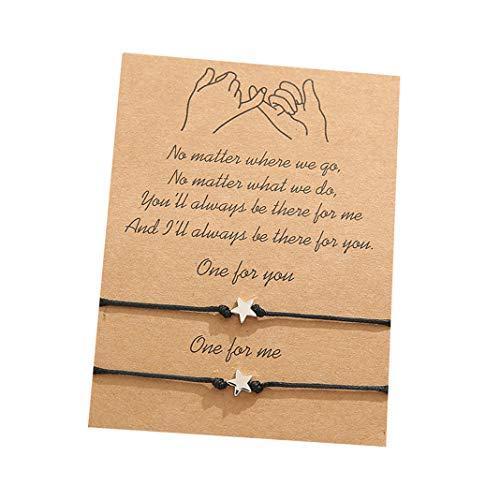salefun 2 pulseras de la amistad para parejas, mejores amigos, madres, hijas