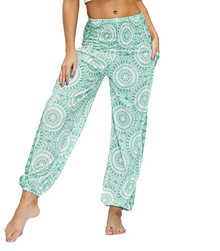 DQCUTE Women Casual Smocked Waist Boho Yoga Harem Pants Summer Beach Loose Fit Palazzo Hippie Trousers with Pockets Pattern 38