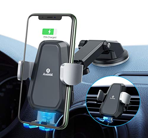 Andobil Wireless Car Charger Mount【Auto Clamping】Qi Fast Charging 10W/7.5W iPhone Car Charger Holder for Air Vent & Dash, Compatible iPhone 12 Series/11/SE/XS/XR/8,Samsung Galaxy S20/S10/S9/Note 20/10