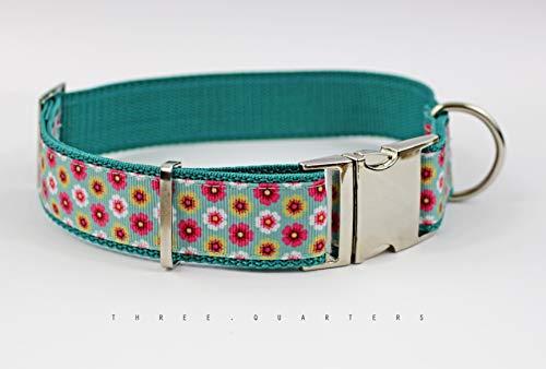 Hundehalsband im Blumen, Gurtband in türkis, Breite 30mm
