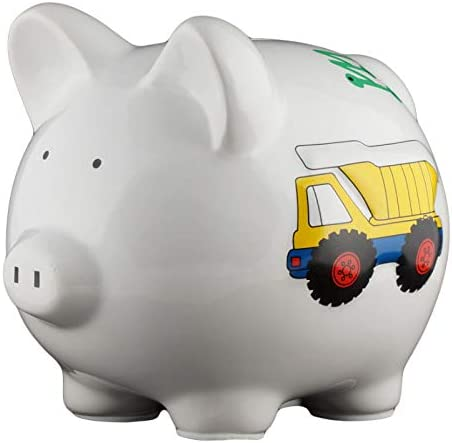 Excellence Personalized Dedication Work Truck Piggy Bank and Boys – Colorful for