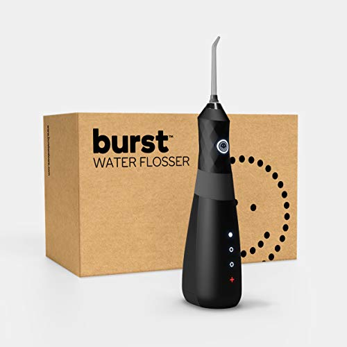 Water Flosser for Teeth, Gums & Braces Care, by BURST, Water Resistant, Cordless & Travel Ready, Deep Clean, Fresh Breath & Healthier Smile, Refillable 110mL Tank, 3 Modes, Black [Packaging May Vary]