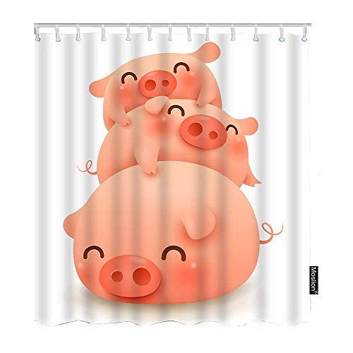 floolter Nettes Tier DREI kleine fette Schweinchen Neujahr von Schwein Badezimmer Duschvorhang 180 × 180 cm