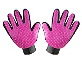 Guokoo Pet Grooming Glove Efficient Pet Hair Remover Mitt - Massage Tool with Enhanced Five Finger Design - for Cats& Dogs (1 Pair Left and Right Hand)
