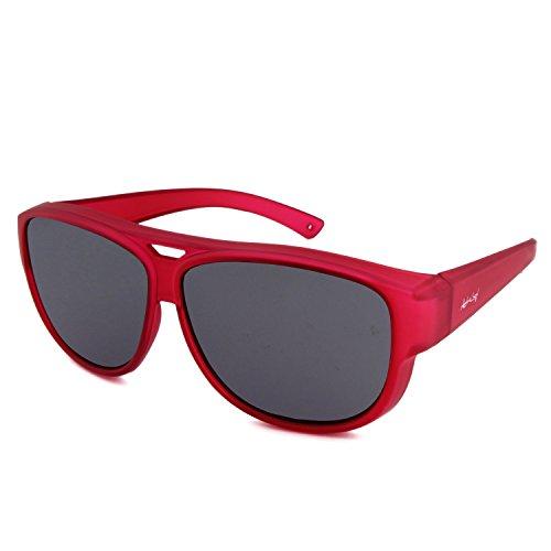 ActiveSol Design ÜBERZIEH-SONNENBRILLE | Flieger Brille | Sonnen-Überbrille UV400 Schutz | polarisiert | 24 Gramm (Rot)