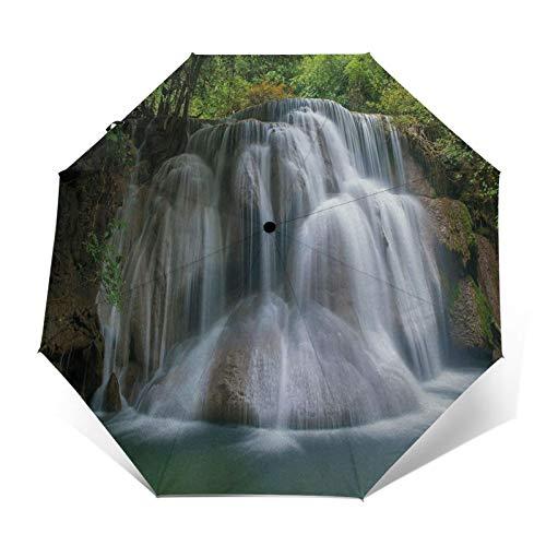 Paraguas Plegable Automático Impermeable Cascada 5, Paraguas De Viaje Compacto A Prueba De Viento, Folding Umbrella, Dosel Reforzado, Mango Ergonómico