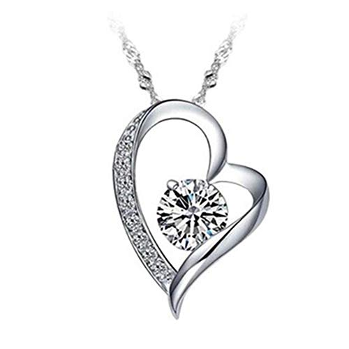Heart Necklace for Women, Sterling Silver Love Pendant Rhinestone Necklace Fashion Charm Christmas New Year Party Jewelry Ornament Anniversary Day Birthday Gift for Ladies Girls (Length 16')