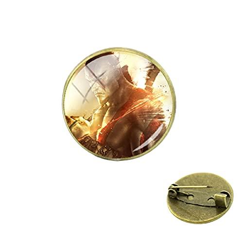 God of War Broches de moda novedad chapado en bronce antiguo cúpula de cristal clásico juego hombres mujeres fans insignia joyería