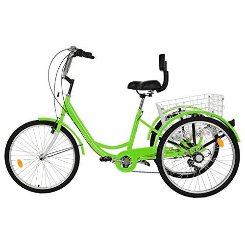 Nawenjuyu 24'' Adult Trike, Three Wheel Cruiser Bike, Multiple Speeds, 26-Inch Wheels, Cargo Basket, 1/7 Speed 3-Wheel Shopping Basket for Seniors, Women, Men, Green