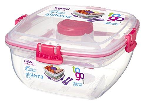 Sistema To Go Salatbox mit Dressingbehälter und Besteck, 1l, transparent/pink