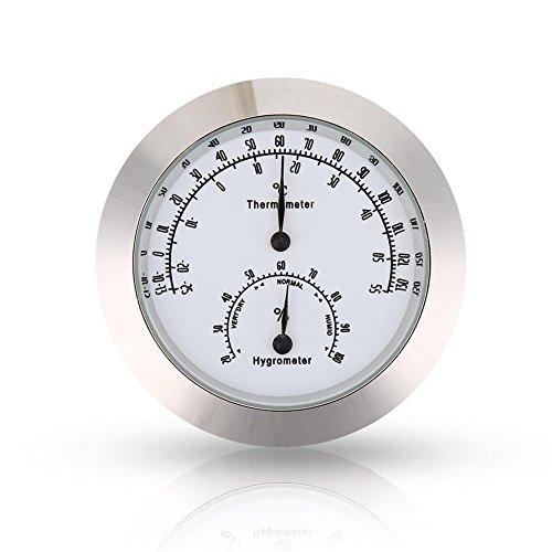 Violine Thermometer Hygrometer, Runde Digitale Gitarre Luftfeuchtigkeit Temperatur Meter für Instrument Pflege(Silber)