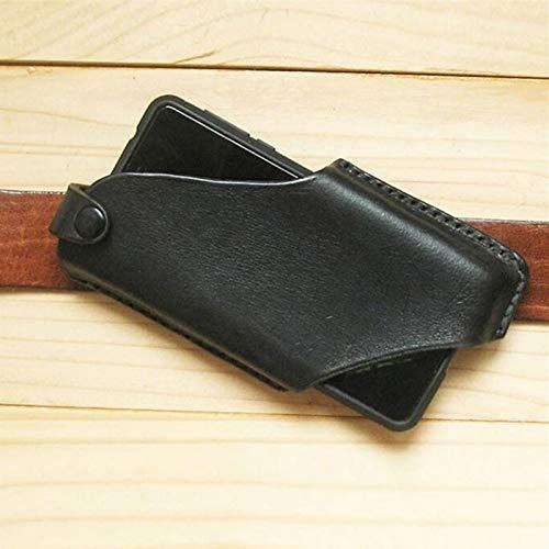 pegtopone Funda de piel para teléfono móvil, universal, pequeña, unisex, mini bandolera para el cuello, cinturón, monedero o pasaporte, con ganchos para llaves