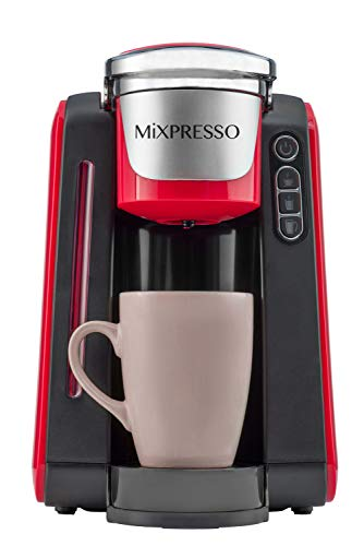 Mixpresso - Single Serve K-Cup Coffee Maker | Compatible With 1.0 & 2.0 K-Cup Pods | Removable 45oz Water Tank | Quick Brewing with Auto Shut-Off | One Touch Function (Red/Black Combination)