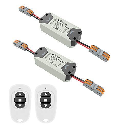 eMylo Smart Wireless RF Motor Controller Schalter RF Relaismodul DC 12V Motor Fernsteuerungsschalter 5V-24V 433Mhz für Rolltor/elektrische Vorhänge/Wasserpumpe Steuermotor vorwärts/rückwärts 2 Pack