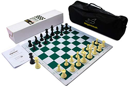 Mynnnat Professionals Chess Set, Tournament Roll up Thick Board and Pieces with Travel Bag and Unique Booklet for Chess Training - White & Green