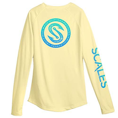 Scales Women's Pro Performance Fishing Every Degree Long Sleeved Shirt, Yellow, Medium