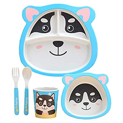 5Pcs / Set Bamboo Fiber Children Tableware Toddler Children Board Food Plate Bowl Cup Spoon Fork Set Kids Cartoon Dinnerware Children Tableware (Husky)