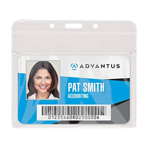 ADVANTUS PVC-Free Badge Holders, Horizontal, 4 x 3 Insert Size, Pack of 50 Holders (75603)
