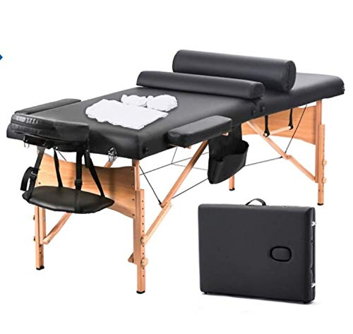 DKELI Massage Table Portable Massage Bed Professional Portable Folding Spa Bed Tattoo Bed 3 Fold Height Adjustable Best Massage Table With Black Carry Case