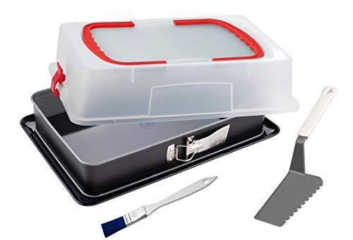Dr. Oetker Blechkuchen-Set, Rechteck-Springform mit Haube 38 x 25 cm, eckiges Kuchenblech aus Emaille, extra hohe Transportbox, mit Kuchenheber und Backpinsel perfekt ausgestattet, Menge: 1 x 3er Set