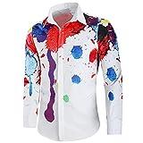 eihejiancai Otoño de la Moda de los Hombres Camisa de Manga Larga Camisa de Vestido de los Hombres Más el Tamaño M-XXL Floral Camisa Hawaiana Masculina Social C65, Imagen, M