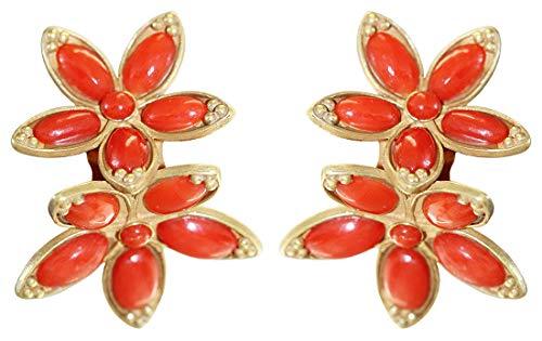 Hobra-Gold Orecchini a clip in oro 750 con fiori di corallo, 18 carati