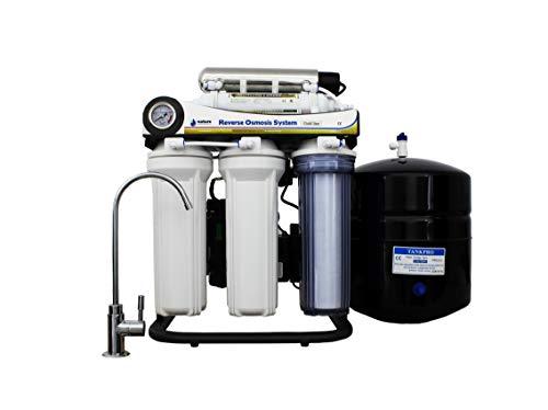 NATURE WATER PROFESSIONALS Equipo de Osmosis Inversa de 7 Etapas - Bomba + Membrana Vontron de 50GPD + Filtros Nature Water Professional - Capacidad Media 9L - Filtración de Agua Potable