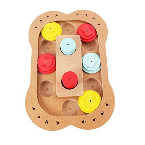 Yusell Welpen Intelligenz Fütterung Spielzeug Anti-Snacking pädagogisches Spielzeug aus Holz Pet Pfotenabdruck Knochen Skateboard Bowl (B)