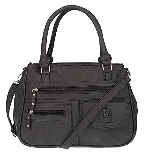 Christian Wippermann große Damen Umhängetasche Tasche Schultertasche in Leder Optik Schwarz